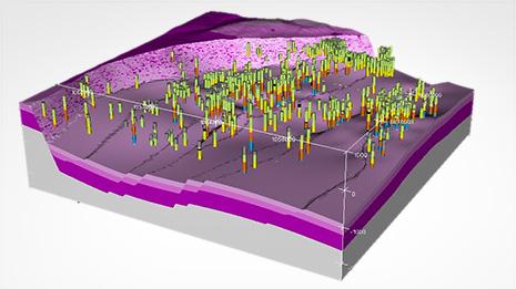 Modèle 3D du socle et du Trias du Fossé rhénan (région de Pechelbronn), réalisé par C. Loiselet, G. Courrioux. © Géodéris