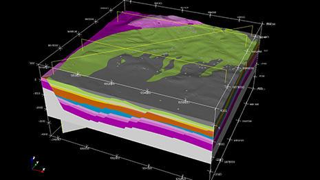 Modèle géologique de la zone de Pechelbronn (Alsace) réalisé sous Geomodeller 3D. Réalisation G. Courrioux, C. Loiselet. © Geoderis